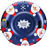 SKL Snow Tube, 47 Inch Inflatable Snow Sled for Kids and Adults, Heavy Duty Snow Tube with Safety Handles, Pulling Rope…
