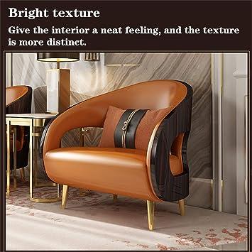 guohailang Leather Armchair Postmodern Leather Sofa Living Room Lounge Chair Art Balcony Single Room Chair for Living Room Bedroom Color: Orange, Size: Medium