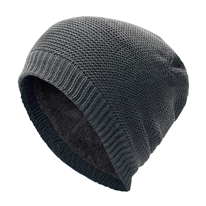7b1d06faf26a0 JAKY Global Unisex Thick Cable Knit Beanie Hat Winter Cap Skull Wool Fleece  Lining Windproof for