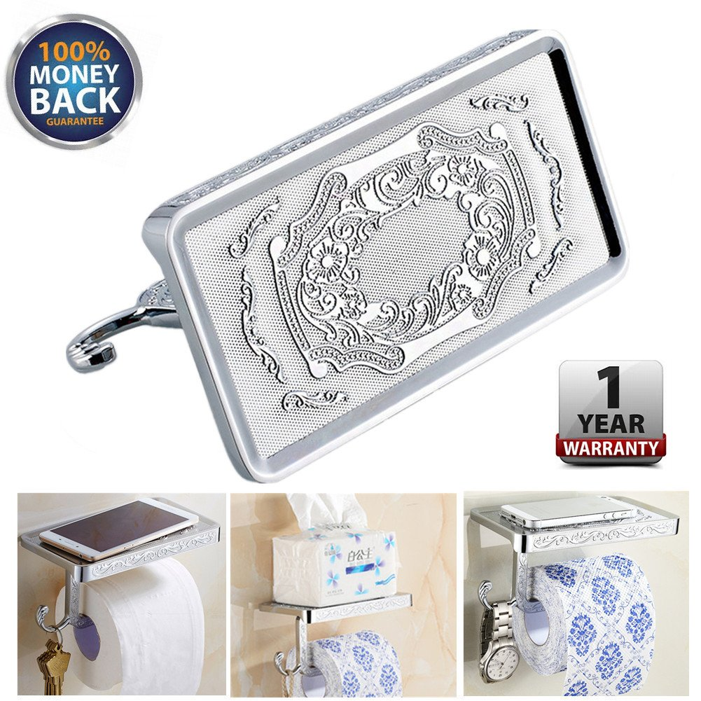LuckyStart Toilet Paper Holder with Shelf Bathroom Accessories Reversible Wall Mount Phone Holder Toilet Paper Holder Roll Cell Rack Tissue Carved Vintage Style Chrome