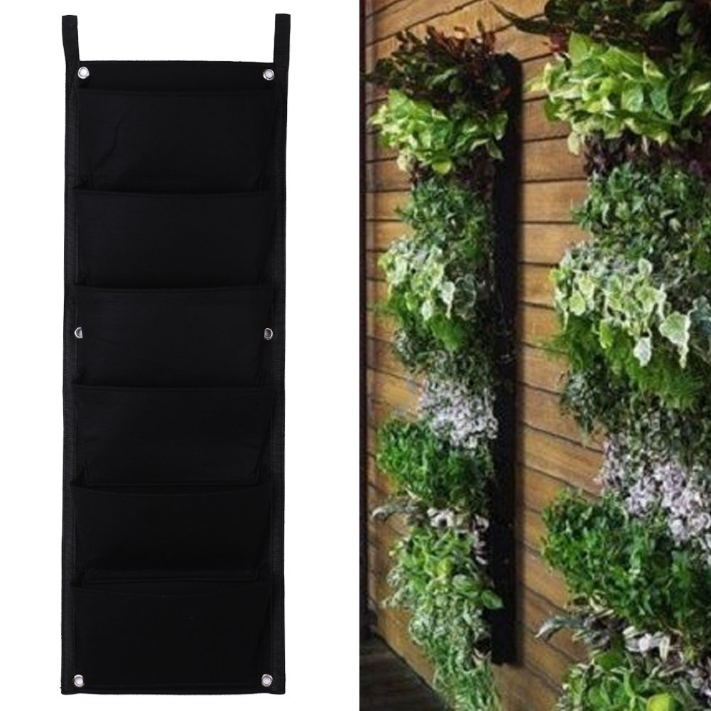 everpert 6 bolsillo colgante vertical Garden maceta interior y exterior maceta decoración: Amazon.es: Jardín