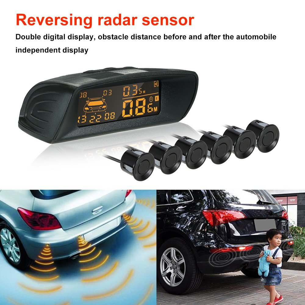 Kkmoon Car Rear View 6 Radar Sensors Parking Digital Speedometer System Reversing Buzzer Led Automotive