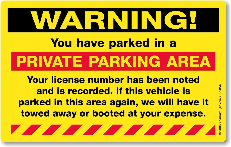 PRIVATE NO PARKING Prohibited Garage Sign 150mm Vinyl Aufkleber