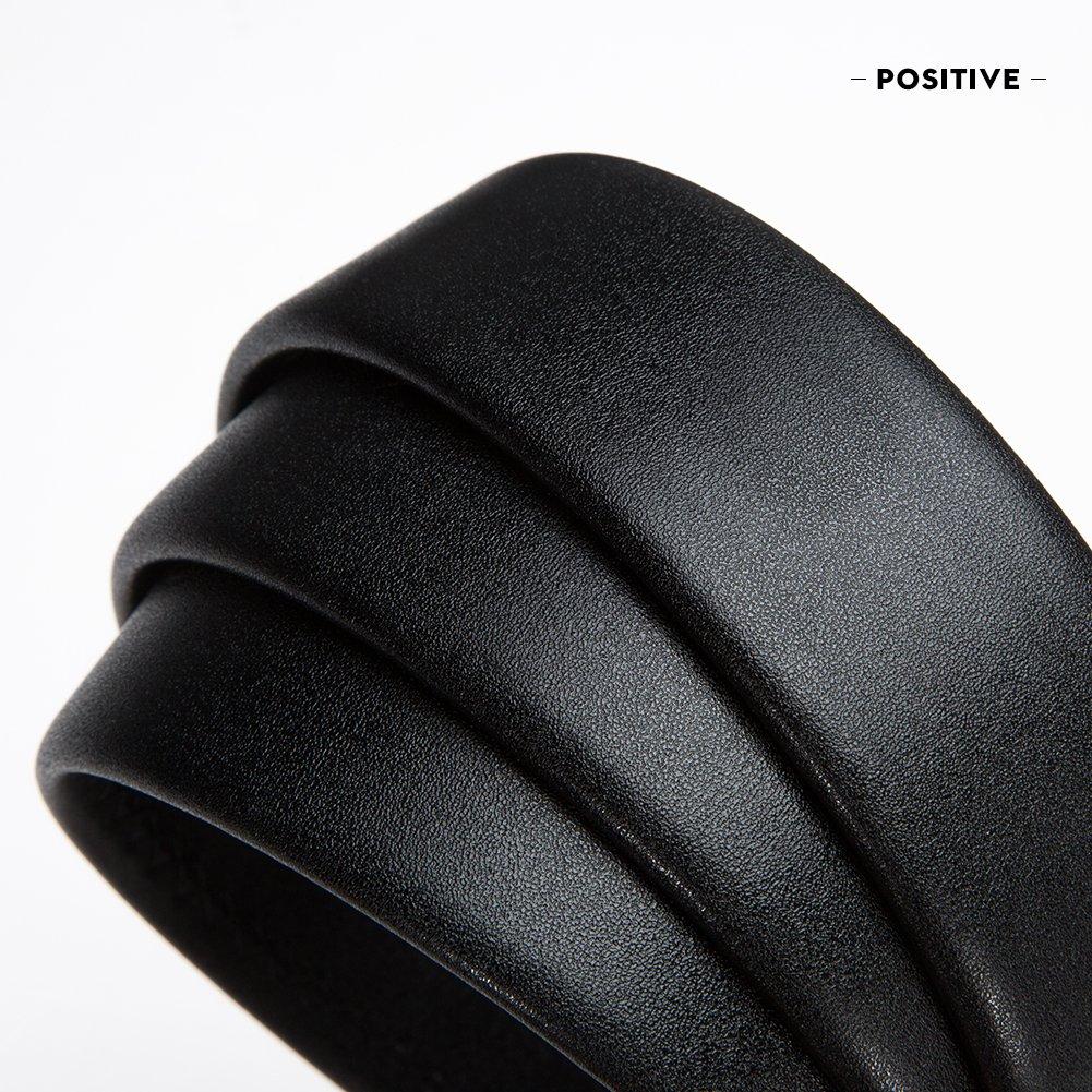 LAORENTOU Men Cow Leather Belts 25-41 inch Adjustable Ratchet Dress Belt with Automatic Sliding Buckle
