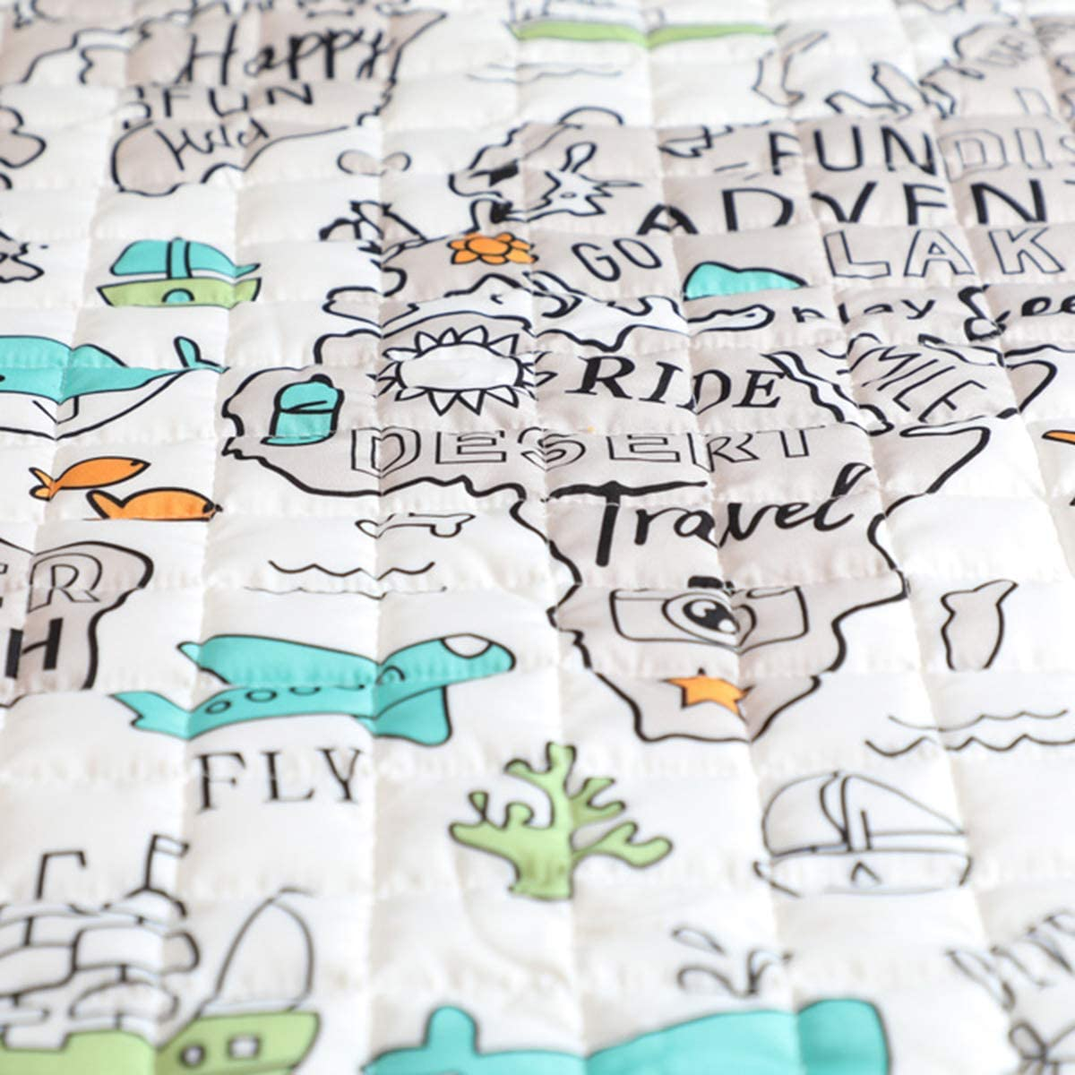 Chennie 47.2in Baby Crawling Mat Explore the World Map Playmats Child Activity Game Rug