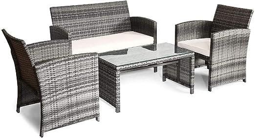 Amazon Com Giantex 4 Pc Rattan Patio Furniture Set Garden Lawn Sofa Cushioned Seat Mix Gray Wicker Kitchen Dining