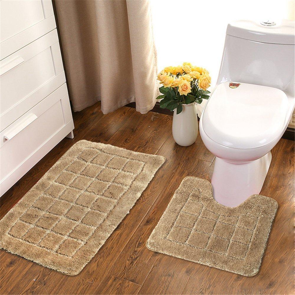 Set of 2 Soft Shaggy Non Slip Bath Shower Mat and U-shaped Toilet ...