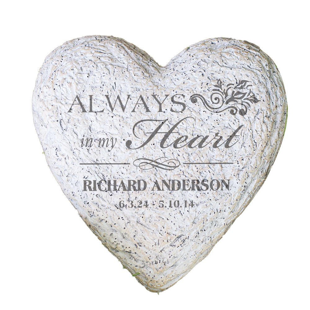 GiftsForYouNow Large Heart Personalized Memorial Garden Stone, 8.5'', Waterproof, Indoor/Outdoor, Resin