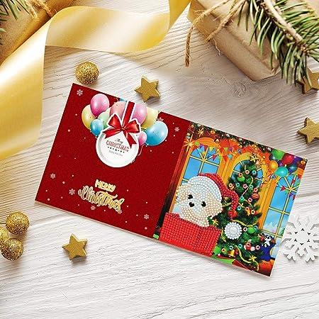 Demiawaking 8pcs Biglietti di Auguri Natalizi Fatti a Mano Inviti per Feste di Natale Fai da te 5D Diamond Painting Biglietti Natalizi con Buste Vuote per Compleanno Natale Stile a