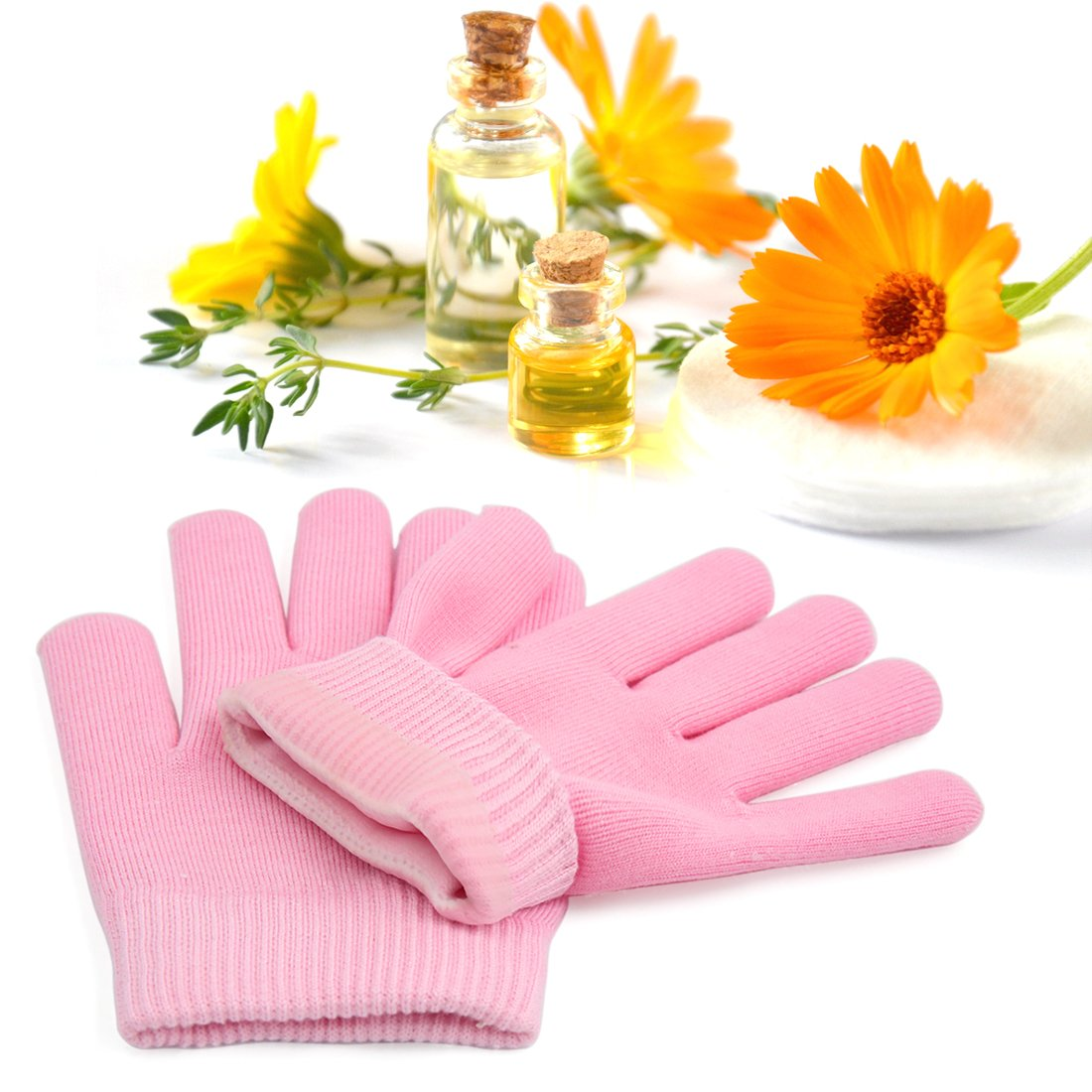 uxcell Gel Gloves Soft Moisturizing Sleeves Cover Dry Cracked Hand Skin Care Exfoliate Spa Treatment Baby Pink 1 Pair US-SA-AJD-155279