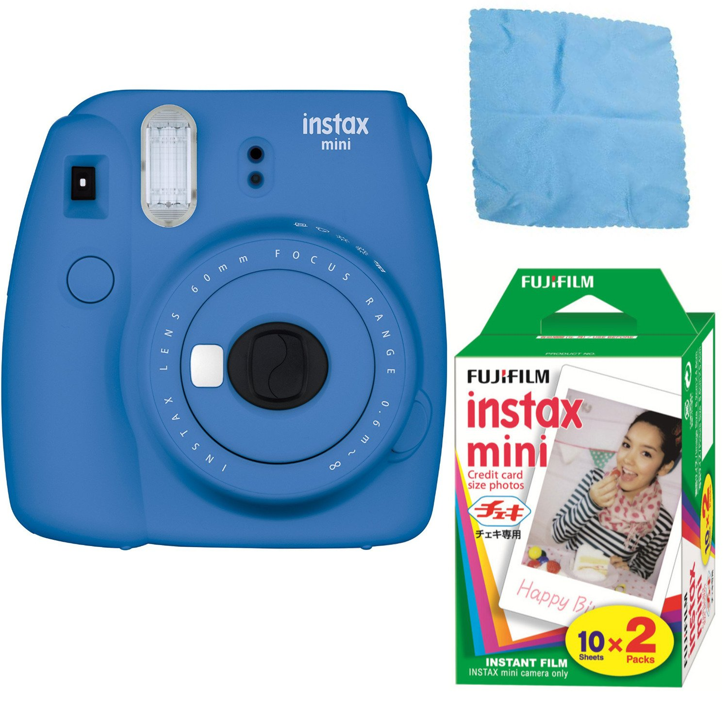 Fujifilm Instax Mini 9 (Cobalt Blue) w/Color Film (2-Pack / 20 Exposures)