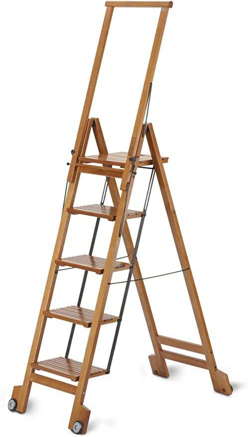 Aris Biblio 5 - Escalera 5 Pasos - Plegable Elegante para Librería, Despacho, Salón O Cocina - En Madera De Haya Maciza - Fabricado en Italia - Color Cerezo: Amazon.es: Hogar