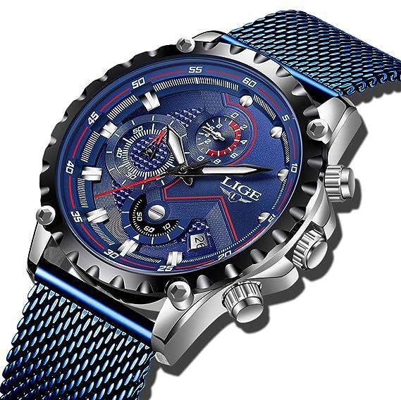 Reloj LIGE para Hombre Deporte Cronógrafo Analógico Cuarzo Impermeable Relojes de Pulsera con Correa de Acero Inoxidable