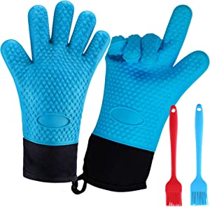 Sakruda 1 Pair Heat Resistant Silicone Cooking Gloves with 2PCS Basting Pastry Brushes,Kitchen Oven Mitt With Cotton Lining,BBQ Grilling Smoker Glove,Long Waterproof Non-Slip Potholder for Baking-Blue