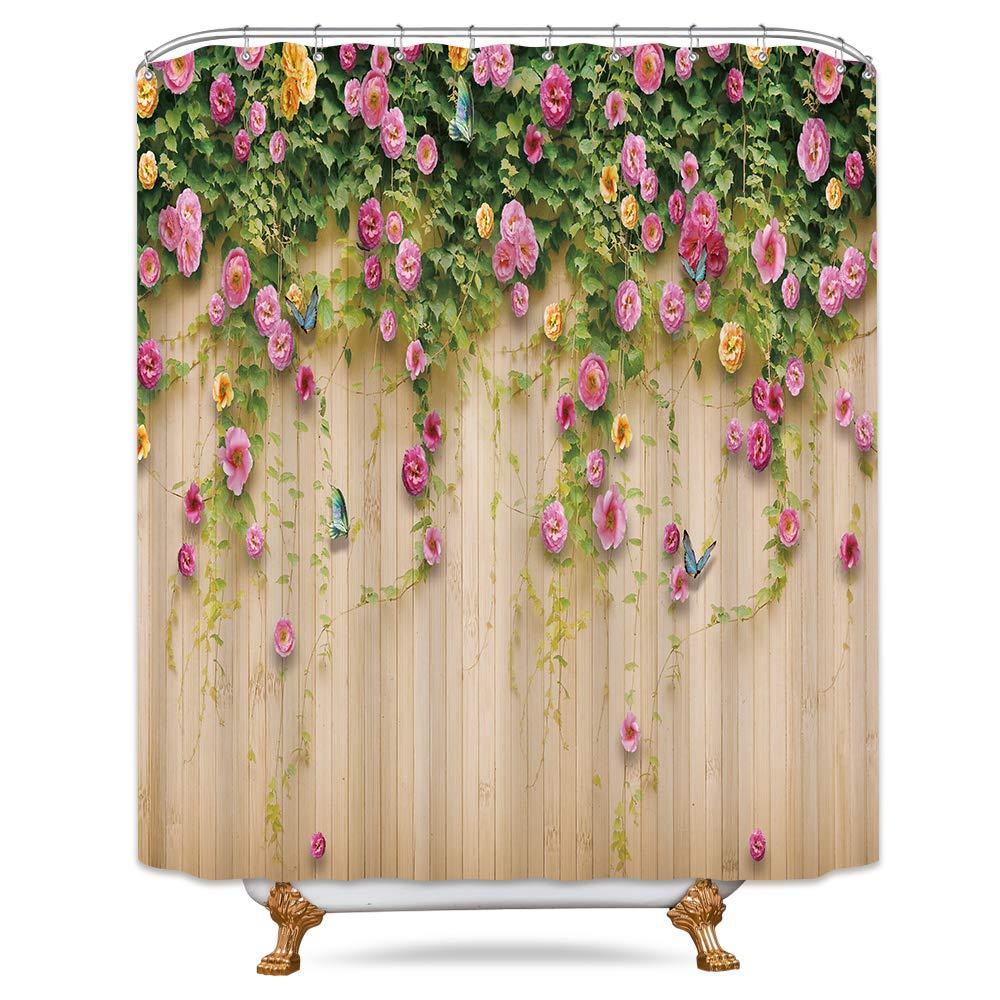 Riyidecor Boho Paisley Shower Curtain Set 36x72 Inch Floral India Bohemia Dark Navy Bathroom Decor Fabric Panel Polyester Waterproof with 7-Pack Plastic Shower Hooks