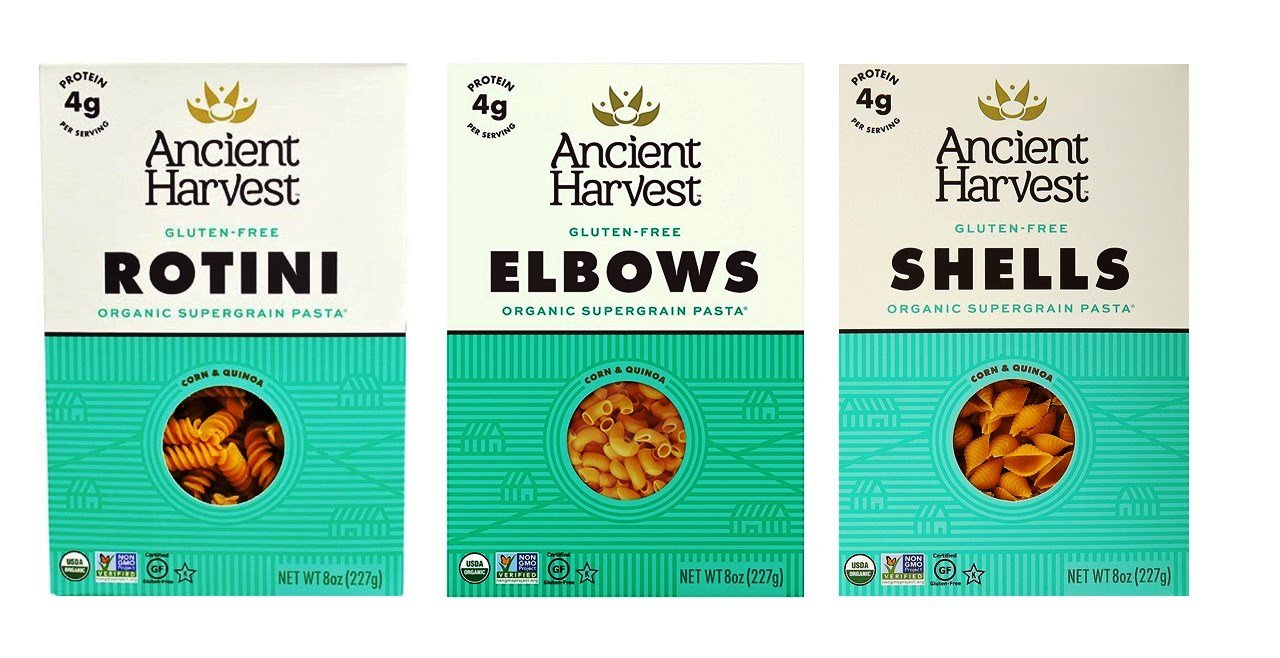 Ancient Harvest Gluten-Free Supergrain Corn Quinoa Pasta 3 Shape Variety Bundle, (1) Each: Elbows, Shells, Rotini (8 Ounces) by Ancient Harvest