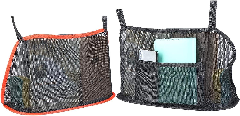 2 Pack Upgrade Car Net Pocket Large Mesh Organizer Multi-functional Seat Back Storage Bag Pet Barrier Bag for Purse Documents Pet Tissue Bottle Food Storage (Black(Upgrade)+Red)