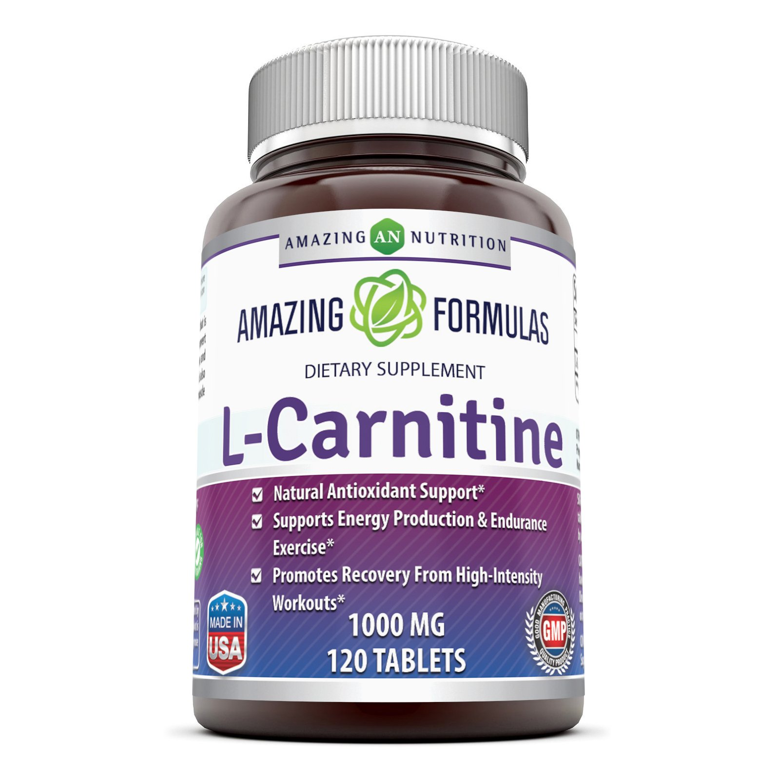 Amazing Formulas L Carnitine Fumarate Supplement - 1000 Mg, 120 Tablets - Natural Antioxidant Support - Supports Energy Prduction & Endurance Exercise - Promotes Recovery from High Intensity Workout.