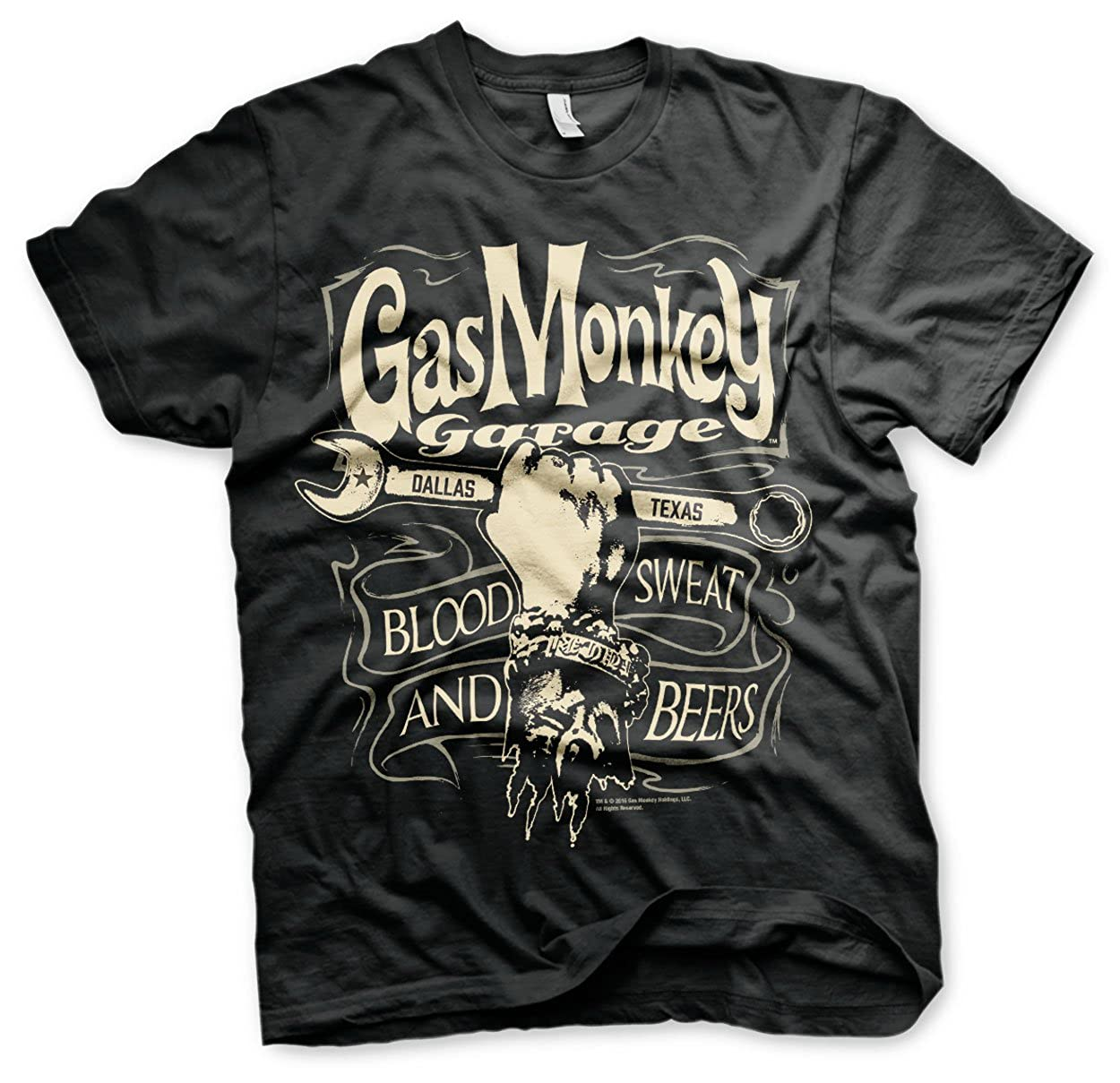 Officially Licensed Merchandise Gas Monkey Garage Wrench Label T-Shirt (Black)