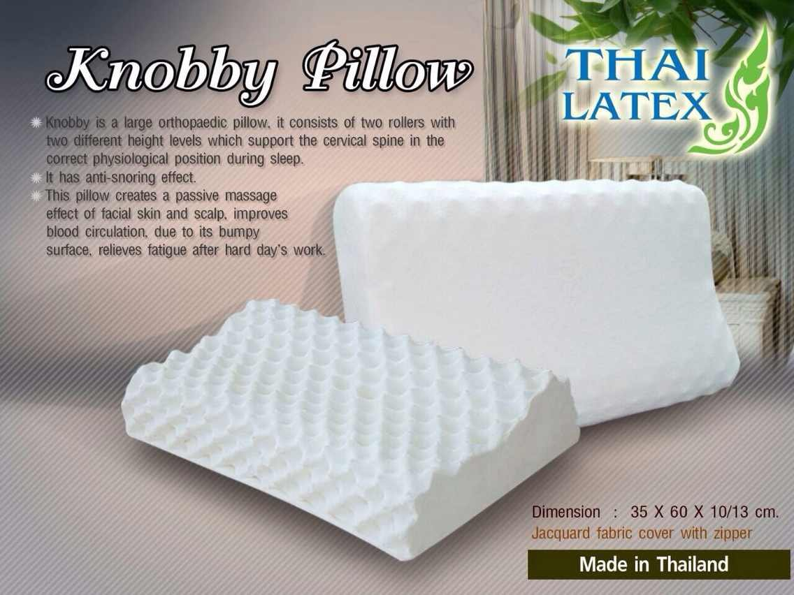 2 X Packs Green Health 100% Natural Latex Pillow Talalay Hypoallergenic Natural Latex Foam / Jacuard Fabric Cover with Zipper - Made in Thailand / Massage Contour Pillow