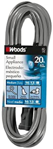 Woods 990547 16/2 SVT Small Appliance Extension Cord, 20-Foot, Gray