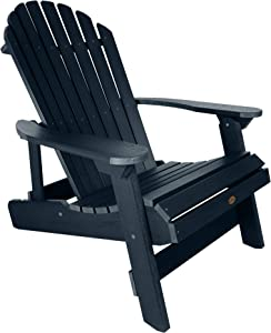 Highwood Hamilton Folding and Reclining Adirondack Chair, King Size, Federal Blue, AD-KING1-FBE
