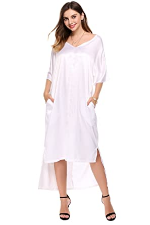 6cb2f4c74c31 Meaneor Plus Size V-Neck Side Pockets High Low Loose Asymmetric Hem Casual Maxi  Dress. Roll over image to zoom in
