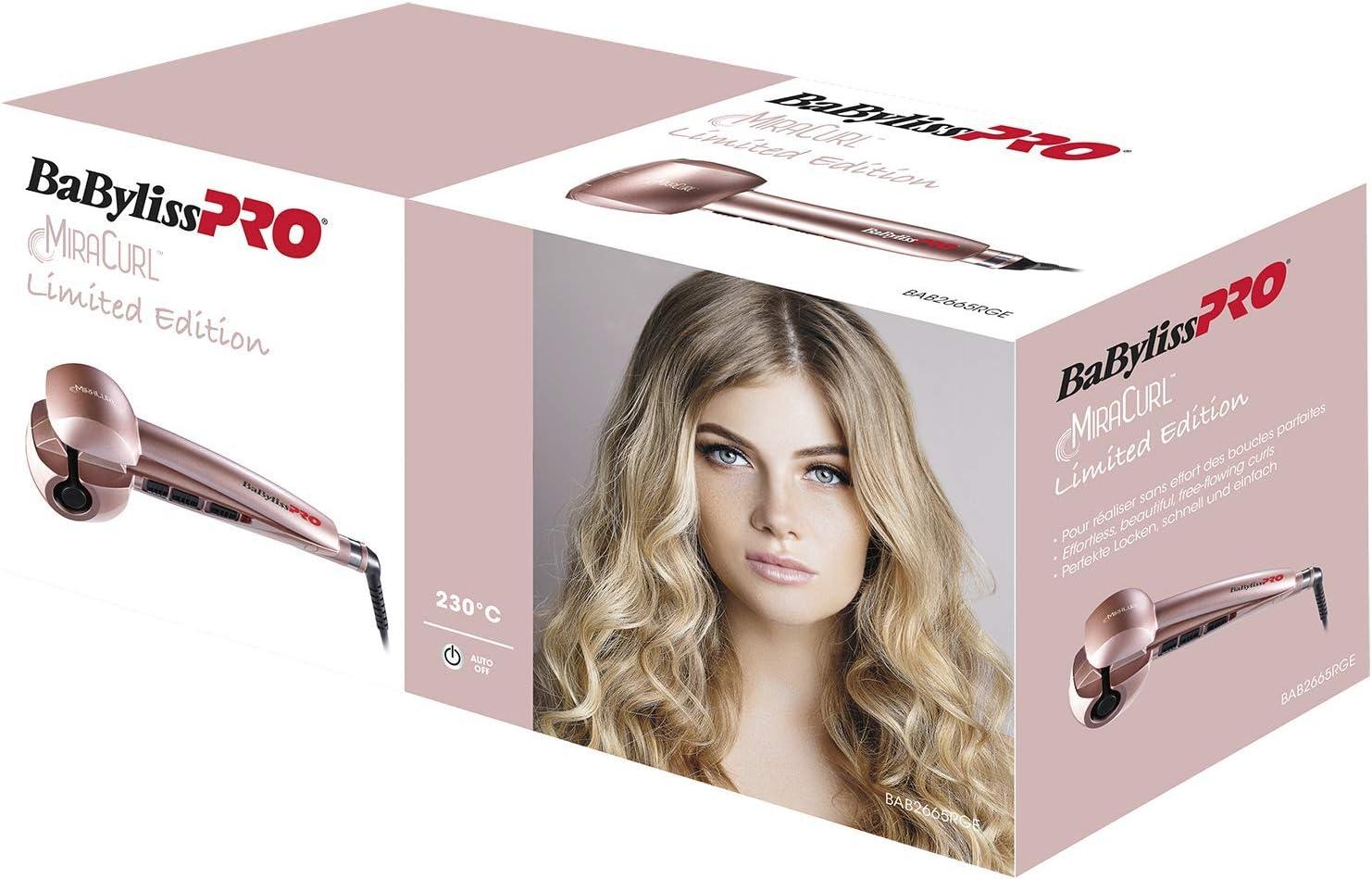 BaByliss Pro Miracurl Rose Gold - Rizador de pelo profesional 100% automático, 190°C-210°C-230°C, 3 tiempos de marcado para hacer ondas y rizos, selector de la dirección para hacer diferentes peinados: Amazon.es: Salud