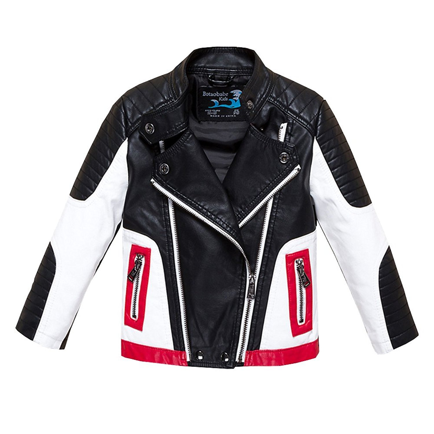 Kids Faux Leather Jacket Motorcycle Bicycle Jackets Toddler Coats 9-10)