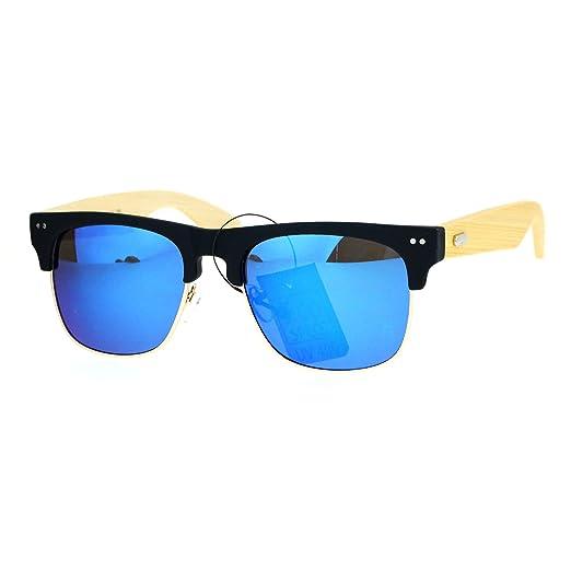08fd33a26a5686 Herren-Accessoires Sonnenbrillen SA106 Real Bamboo Wood Arm Half Horned Rim  Round Sunglasses