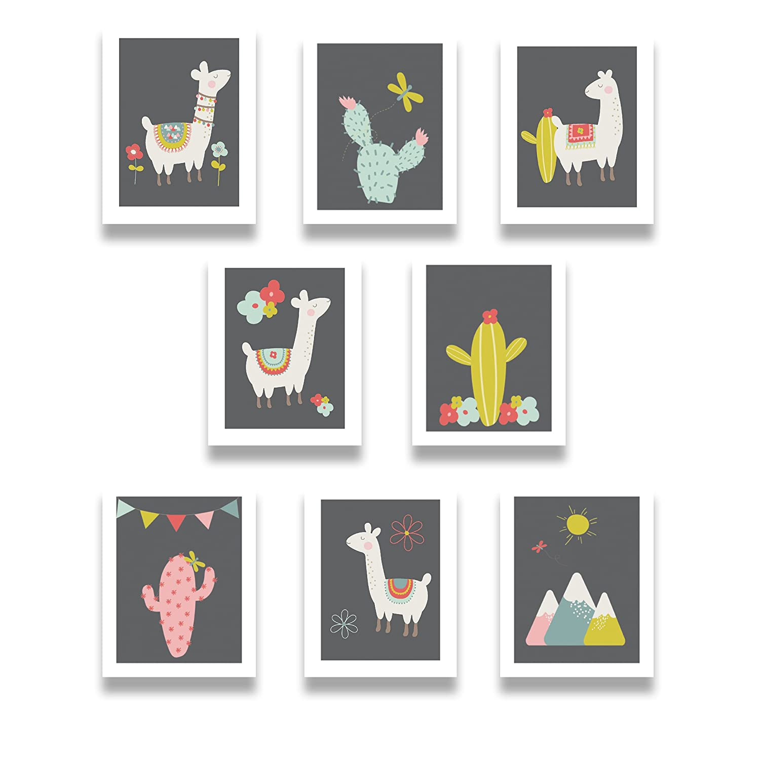 "Llama Family Print Collection - Baby or Child Wall Decor - Set of Eight Mini 5x7"" Professional Prints - Educational and Beautiful Pictures for Nurseries, Bedrooms, Playrooms, or Classrooms"