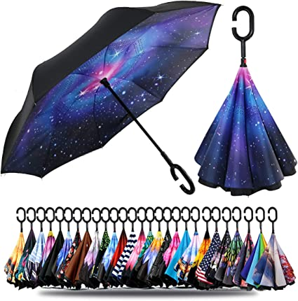 Reverse Umbrella Double Layer Inverted Umbrellas For Car Rain Outdoor With C-Shaped Handle Seamless Wallpaper Digital Pattern Personalized