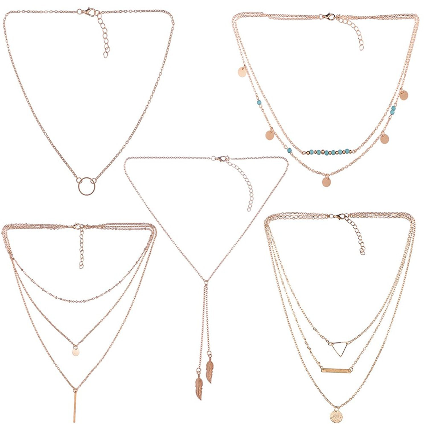 Mother's Day Gift- 5 PCS Long Lariat Y Chain Necklace Set Simple Bohemia Multilayer Pendant for Women
