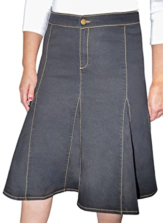 138fee413e Kosher Casual Women's Modest Knee Length Flared Stretch Denim Skirt with  Gored Seamed Panels No Slits Stonewashed Black Size Small at Amazon Women's  ...