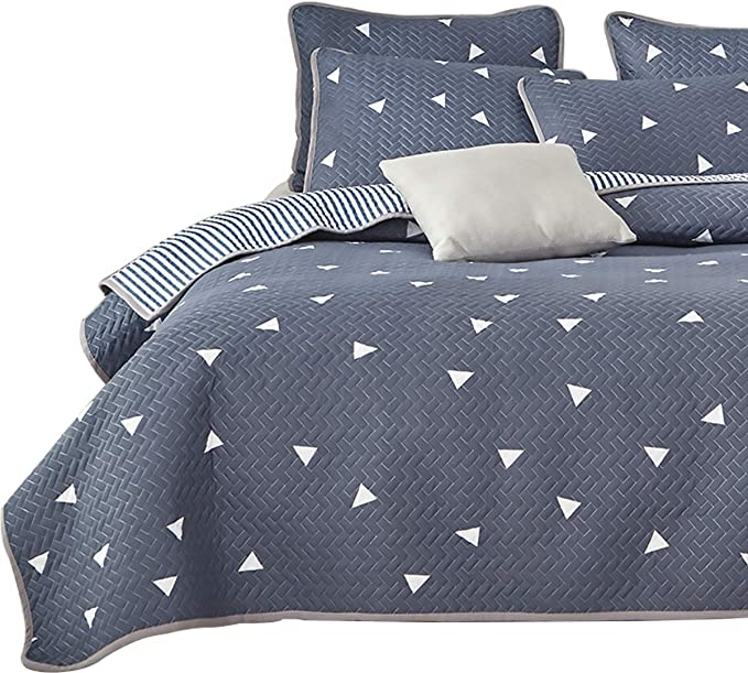 Uozzi Bedding 3 Piece Reversible Queen Quilt Set Blue Gray Soft Microfiber with White Triangles Lightweight Men Adults 92x90 in Coverlet Bedspread for All Season
