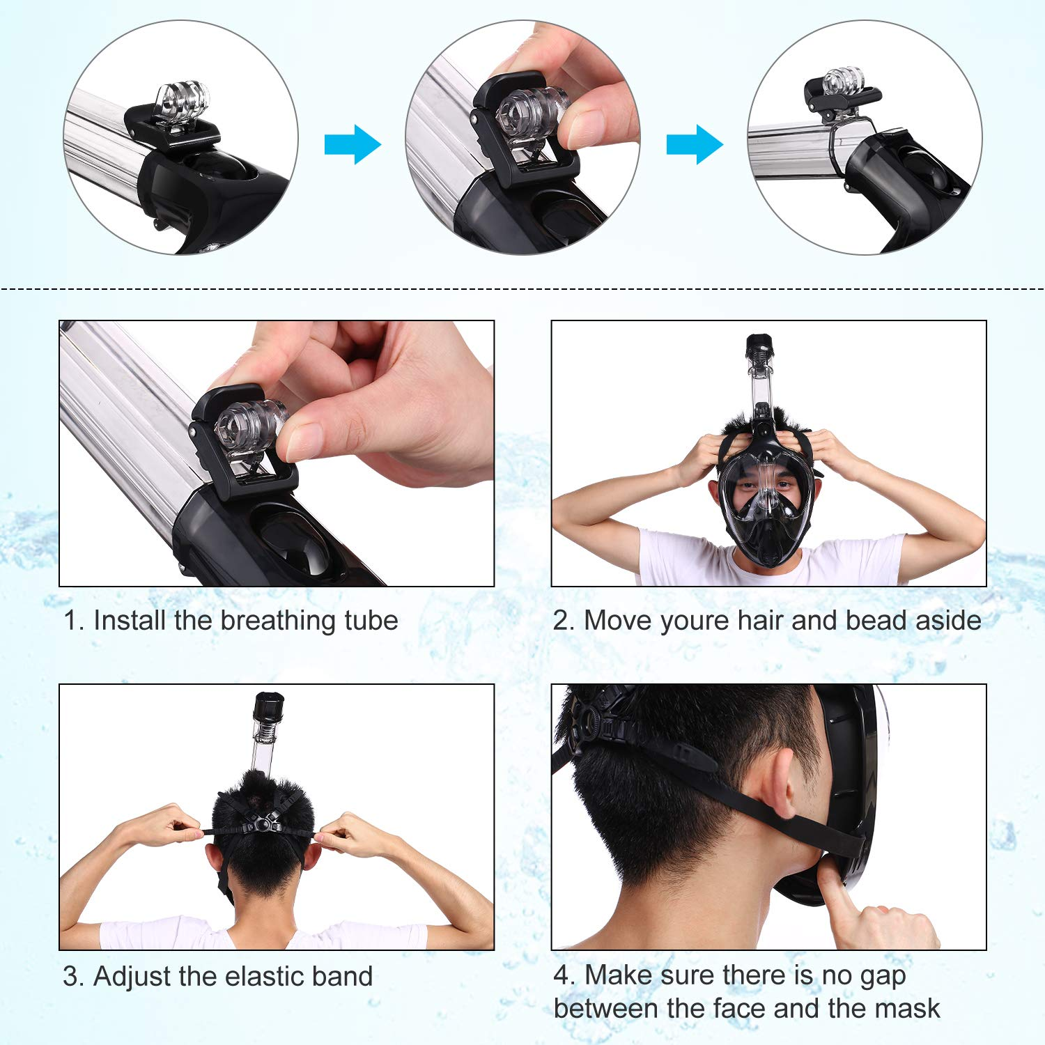 Adjustable Head Straps for Adults /& Kids OppsDecor Snorkel Mask Full Face 180/°Panoramic View Diving Mask with Detachable Camera Mount,Anti-Fog Anti-Leak