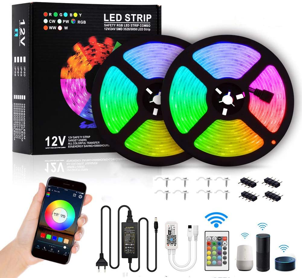 Smart LED Strip Lights,10M 32.8Ft RGB WiFi Wireless Waterproof Remote Control Rope Light with Alexa Google Assistant for Kitchen Bar Eaves Home Part