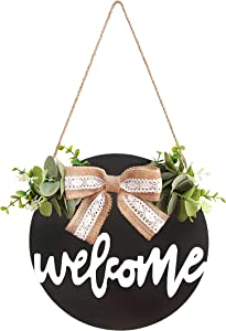 OCIOLI Welcome Sign Porch Decor Rustic Wooden Door Hangers Family Decorative Signs for Home Thanksgiving Halloween Christmas Fall Decoration (Black)