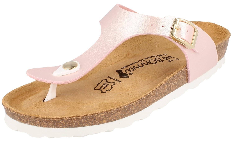 BONOVA Ibiza Zehentrenner in 14 Farben fuuml;r Damen, Sandalen - Pantoletten mit Korkfuszlig;bett - Handmade in Spain  39 EU Light-rose Metallic