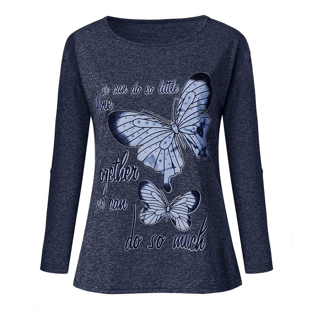 AMOFINY Womens Butterfly Alone Top Together Long Sleeve Bead Blouse