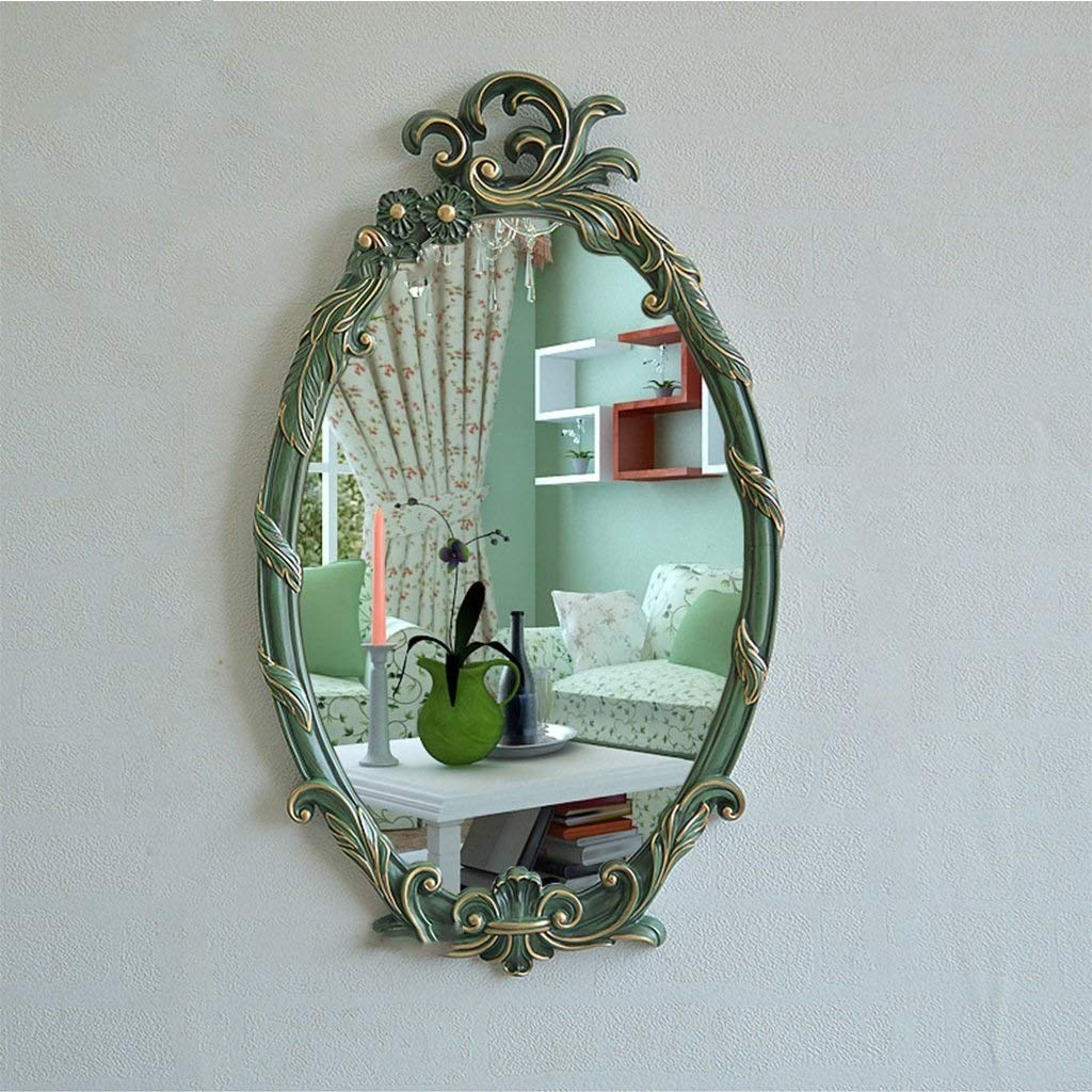 Retro Green Painted gold XIUXIU Mirror European Retro Wall Hanging Simple Oval Vanity Mirror Entrance Waterproof Vanity Mirror (color   Retro Green Painted gold)