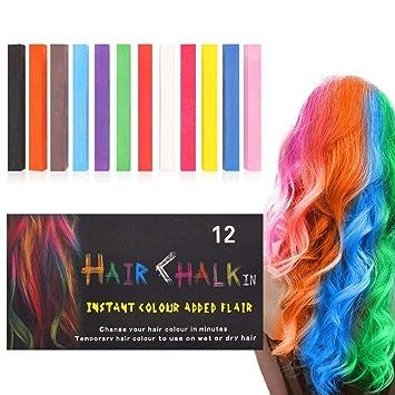Amazon Com Hair Chalk Suneo 12 Color Hair Chalk Pens Soft Pastels Salon Kit Fast Temporary Hair Dye Chalk Non Toxic Washable Beauty