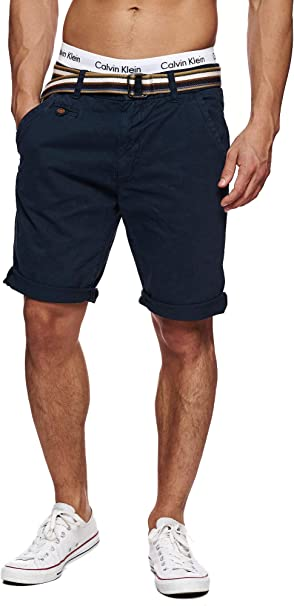 TALLA S. Indicode Caballero Cuba Pantalones Cortos Chinos con 5 Bolsillos y cinturón de 100% algodón   Más Corto Pantalón Regular Fit Bermudas Verano Men Pants Chino para Hombres
