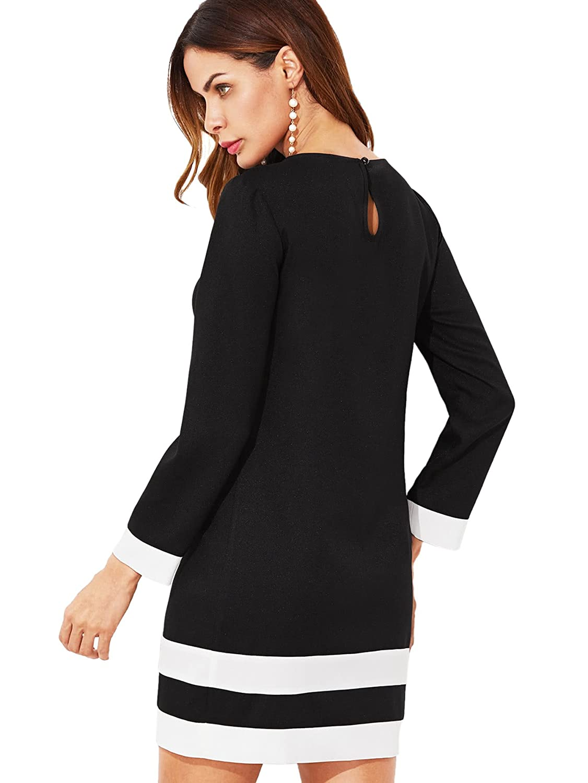 2cebed5aba SheIn Women's Patchwork Striped Cuff Short Tunic Shift Dress at Amazon  Women's Clothing store: