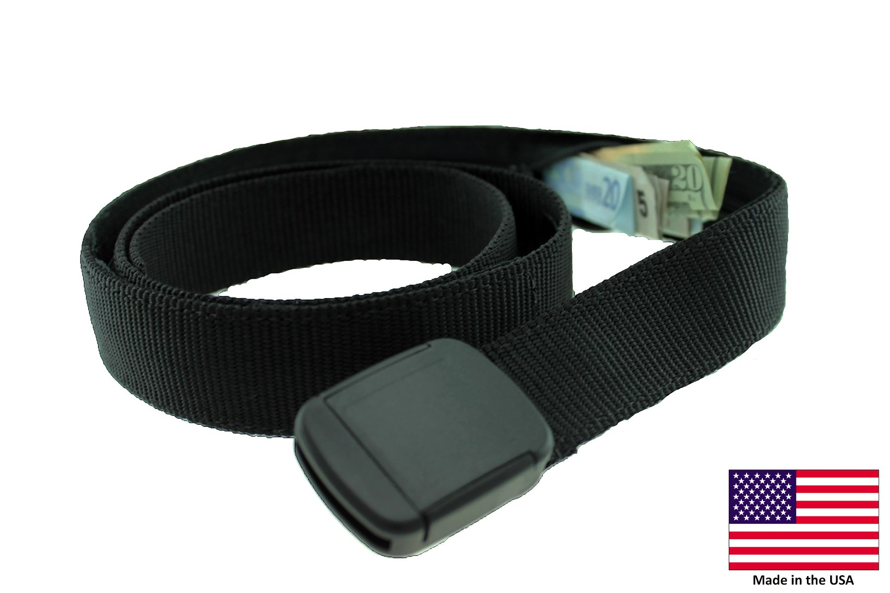 Hiker Money Belt Made in USA by Thomas Bates (Black)