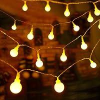 Guirlande Lumineuse 10M 80 Ampoules - Guirlande lumineuse LED à Piles Petites Boules Blanc Chaud Décoration Romantique pour Fête Noël Halloween Mariage Anniversaire Soirée Décor Chambre Terrasse