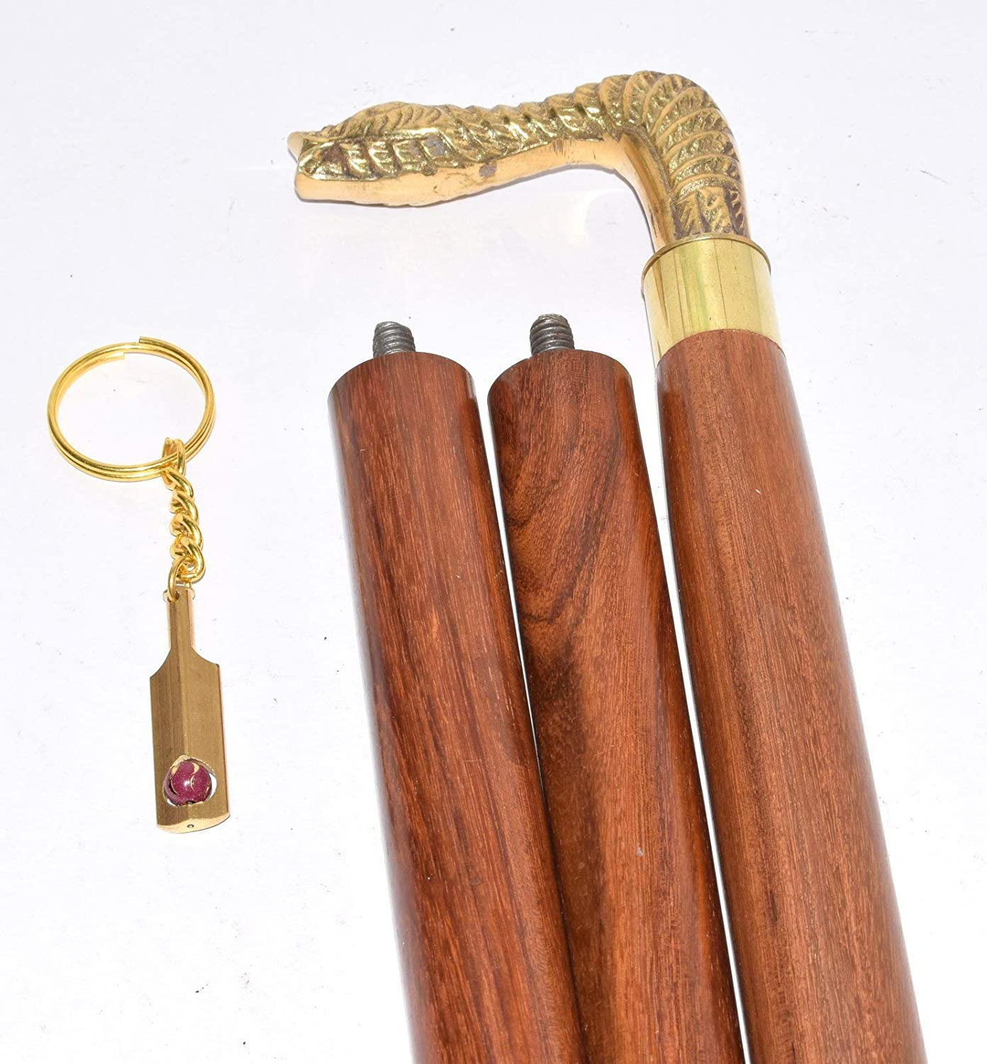 Lot Of 2 Victorian Style Head Brass Handle Walking Stick Wooden cane Style Gift