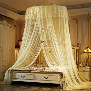 TYMX Child Bed Canopy Mosquito Net Dome Ceiling Bedroom Room Protection Lace Netting Blue