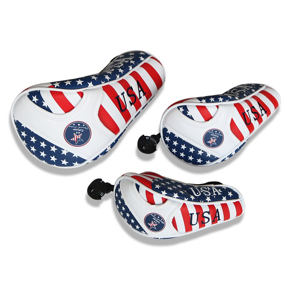 Craftsman Golf Stars and Stripes American USA US Flagヘッドカバーヘッドカバーfor Scotty Cameron Taylormade Odysseyフェアウェイウッド木製 B07845Q27Q  3点(D、F、F) ノーマル