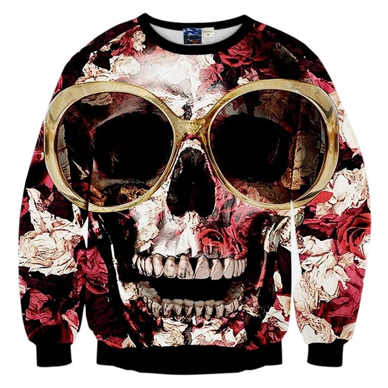 Chiclook Cool SWEATER レディース B07635KJVC  Glasses Roses Skull Large